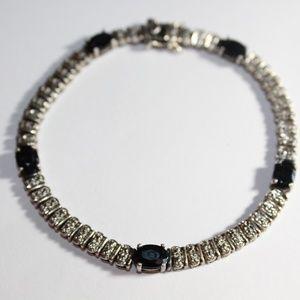 Jewelry - Sterling silver sapphire bracelet 8 inch